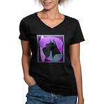 Giant Schnauzer Design Women's V-Neck Dark T-Shirt