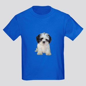 Shih Tzu (bw) pup Kids Dark T-Shirt