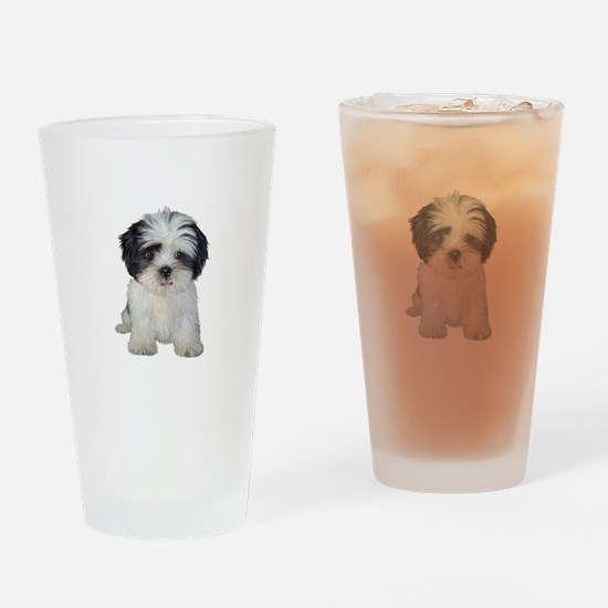 Shih Tzu (bw) pup Drinking Glass