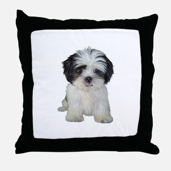 Shih Tzu (bw) pup Throw Pillow