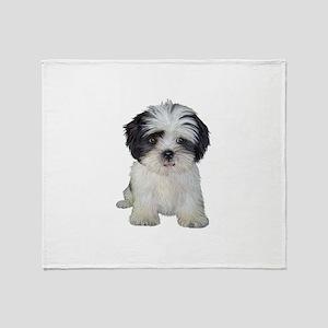Shih Tzu (bw) pup Throw Blanket