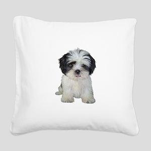 Shih Tzu (bw) pup Square Canvas Pillow