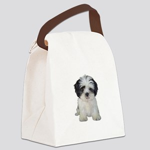 Shih Tzu (bw) pup Canvas Lunch Bag