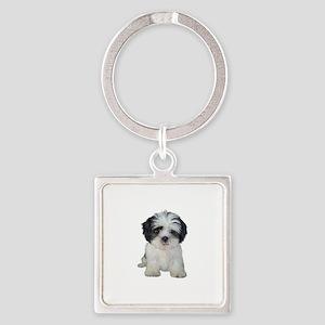 Shih Tzu (bw) pup Square Keychain