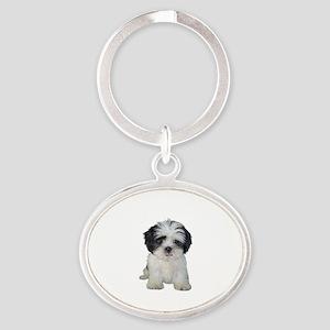 Shih Tzu (bw) pup Oval Keychain