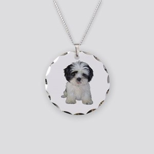 Shih Tzu (bw) pup Necklace Circle Charm