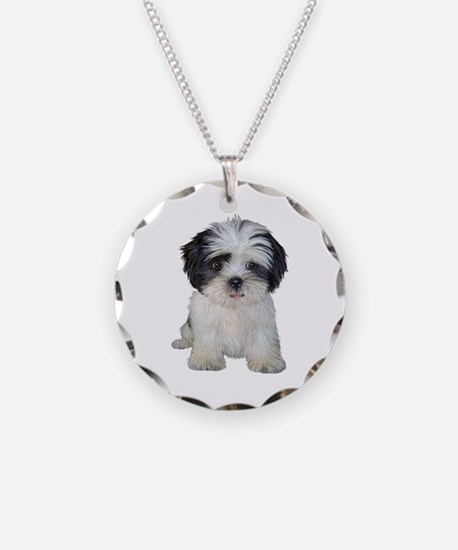 Shih Tzu (bw) pup Necklace