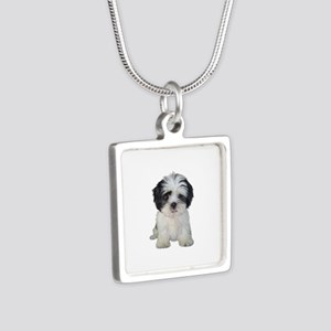 Shih Tzu (bw) pup Silver Square Necklace