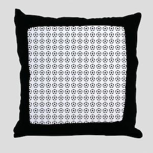 Soccer - Green, Black, White Throw Pillow