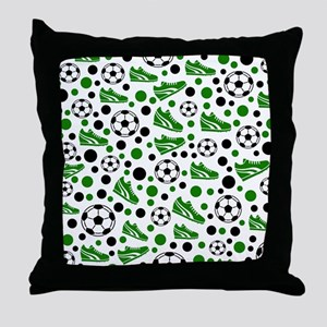 Soccer - Green, Black, White Throw Pillow