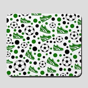 Soccer - Green, Black, White Mousepad