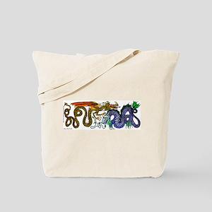 Fire Drake and Sea Serpent Tote Bag