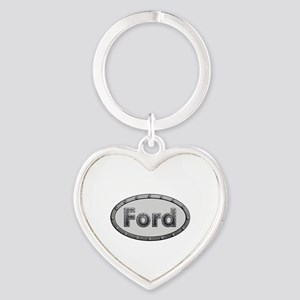 Ford Metal Oval Heart Keychain