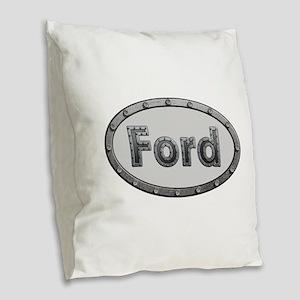 Ford Metal Oval Burlap Throw Pillow