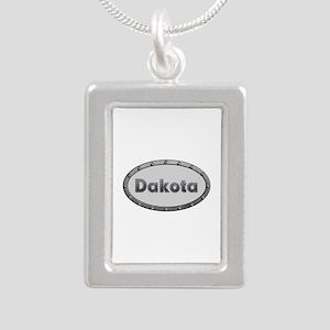 Dakota Metal Oval Silver Portrait Necklace