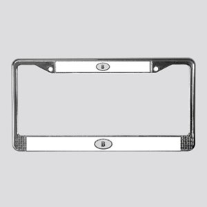 B Metal Oval License Plate Frame