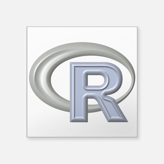 "R Programming Language Logo Square Sticker 3"" X 3"""