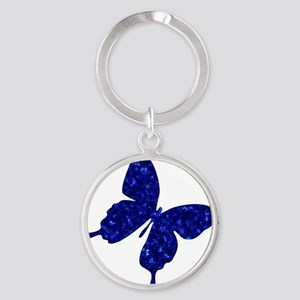SPARKLE BLUE BUTTERFLY Round Keychain