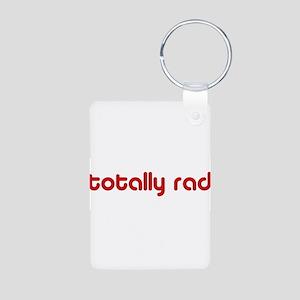 Red Totally Rad Aluminum Photo Keychain
