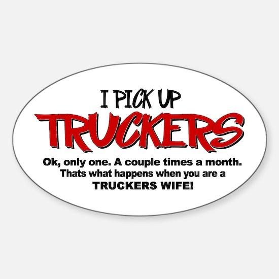 I Pick Up Truckers Sticker (Oval)