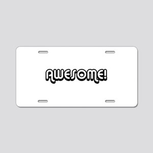 Black Awesome Center Aluminum License Plate
