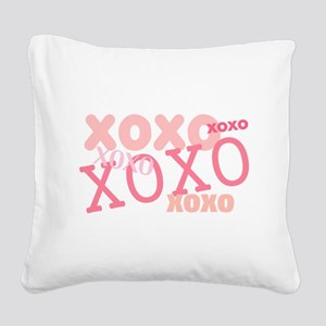 XOXO Hugs and Kisses Square Canvas Pillow