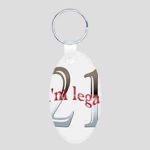 Im Legal and 21 Aluminum Oval Keychain