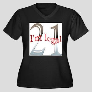 Im Legal and 21 Women's Plus Size V-Neck Dark T-Sh