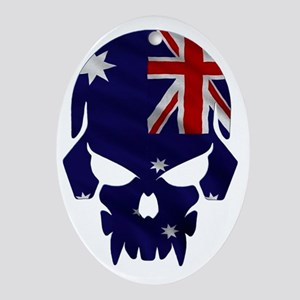 Australian Flag Skull Oval Ornament