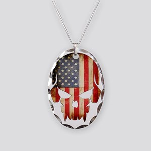American Flag Skull Necklace Oval Charm