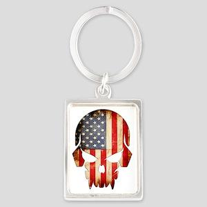 American Flag Skull Portrait Keychain
