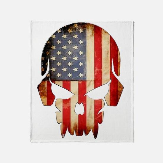 American Flag Skull Throw Blanket
