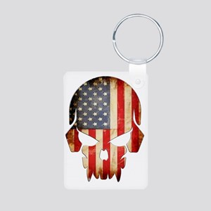 American Flag Skull Aluminum Photo Keychain