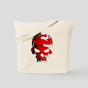 Welsh Flag Skull Tote Bag