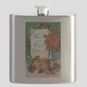 Thanksgiving Vintage Greeting Card Flask