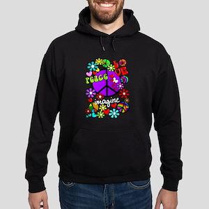 Imagine Peace Symbols Hoodie (dark)