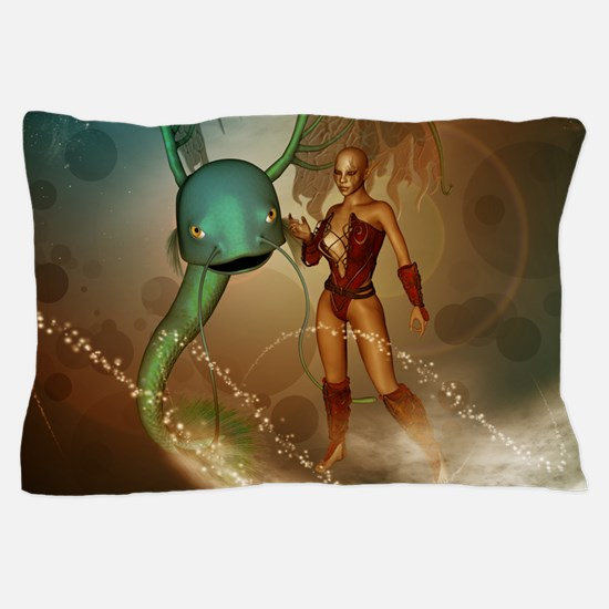 Elf With Mystical Fish Pillow Case