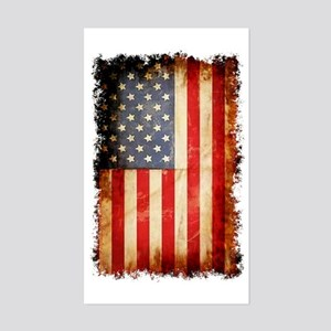 Distressed American flag Sticker (Rectangle)