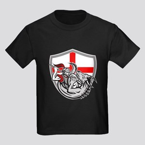 English Knight Fighting Dragon England Flag Shield
