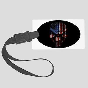 American flag skull dark Oval  Large Luggage Tag