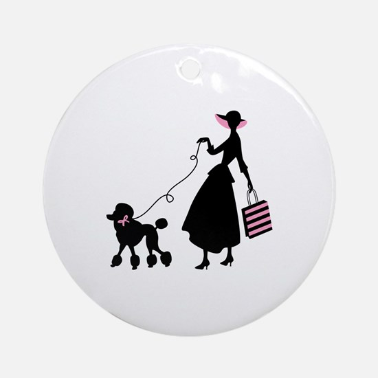 French Poodle Shopping Woman Ornament (Round)