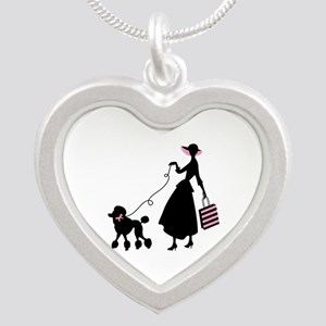 French Poodle Shopping Woman Necklaces