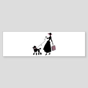 French Poodle Shopping Woman Bumper Sticker