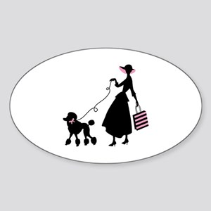 French Poodle Shopping Woman Sticker