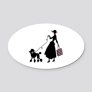 French Poodle Shopping Woman Oval Car Magnet