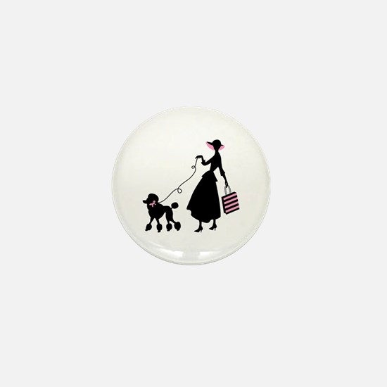 French Poodle Shopping Woman Mini Button