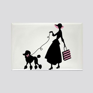 French Poodle Shopping Woman Magnets