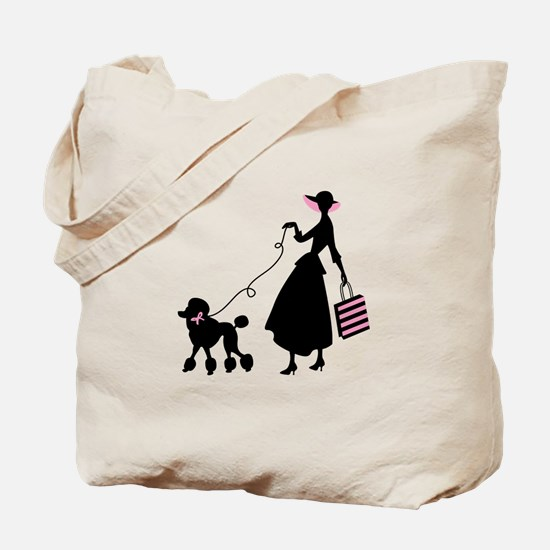 French Poodle Shopping Woman Tote Bag