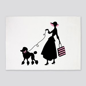 French Poodle Shopping Woman 5'x7'Area Rug