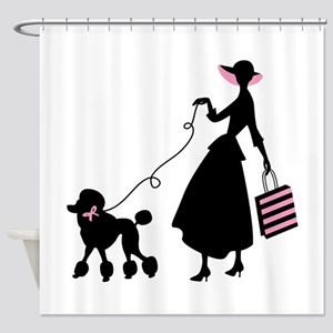 French Poodle Shopping Woman Shower Curtain